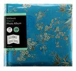 WHSmith Blue Oriental Slip in Photo Album, 50 White Leaves, 200 6x4 Photos