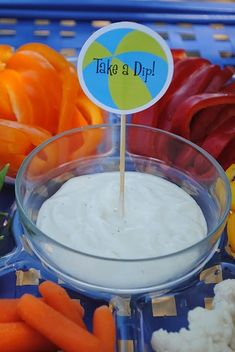 Pool Party...Dips, Perhaps call it skinny dip Drinks and Swim Snacks beach-party... a simple toothpick sign changes the veggie tray from ordinary to on-theme!