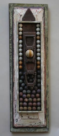 """TUMBLE"", METAL, WOOD AND CLAY, 28 3/4"" X 8 1/2"", BY ABBY RIESER"