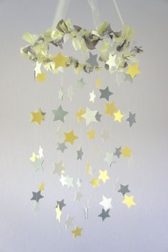 Yellow & Gray Star Nursery Mobile- Neutral Nursery Decor, Baby Shower Gift. $63.00, via Etsy.
