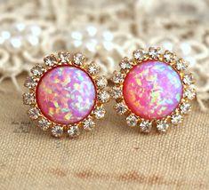 Pink Opal stud earrings with white rhinestones, bridesmaids jewelry,wedding jewelry , fashion jewelry - 14k gold plated swarovski earrings