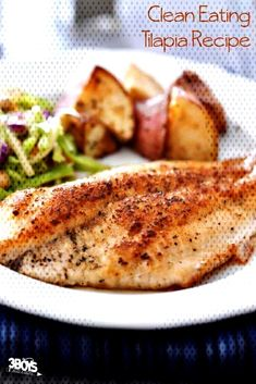 Keep It Clean Tilapia. Healthy Tilapia Recipe - clean eating, paleo, keto Supper in 15 minutes and it isn't take out! Paleo Fish Recipes, Seafood Recipes, Healthy Recipes, Talapia Recipes Healthy, Fruit Recipes, Talpia Recipes, Salmon Recipes, Healthy Meals, Seafood