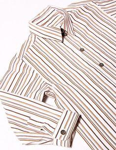 Beige stripes, long sleeves, boy-shirt