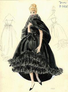 Dior 1959. Elegante vestido en negro