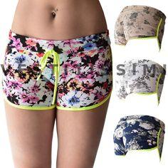 Pantaloncini sportivi donna shorts fitness corti hot pants sport fiori gym S4