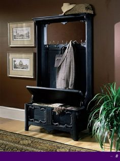 Here, we give you the picture of hall tree bench that might inspire you to have one for your house. If your front hallway or foyer is looking a little vaca Hall Tree Storage Bench, Storage Bench With Baskets, Hall Tree Bench, Storage Bench With Cushion, Hallway Storage, Hall Trees, Entry Bench, Entry Hall, Front Hallway