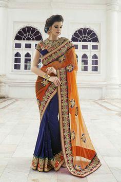 Orange Net Bridal Saree