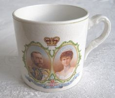 Coronation of King George V and Queen Mary commemorative pottery mug (National Anthem), 1911 (SOLD) - www.vanishederas.com