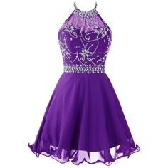 Topdress Women's Short Beaded Prom Dress Halter Homecoming Dress... ($50) ❤ liked on Polyvore featuring dresses, beaded cocktail dress, prom dresses, purple prom dresses, short dresses and backless prom dresses