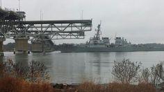 Cruiser going through York River Bridge to Naval Weapons Station Gloucester VA