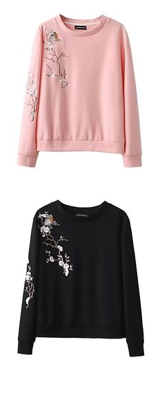 Japanese spring blossom tree / sakura print women casual sporty round neck pullover/ sweatshirt. Comes in black, pearl pink, ivory white colors at €15.67