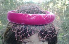 Vintage 1950's  Pink Velvet Veiled Halo Hat Fascinator Valentines Day