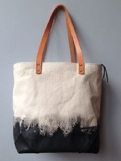 Hand Painted Canvas Tote Bag with Leather Hooves