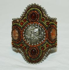 Athena Beaded Embroidery Cuff by gayhuntley on Etsy, $239.00