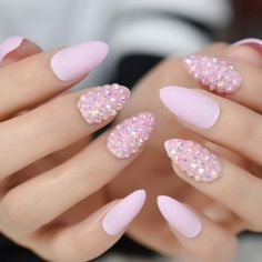 Almond Nails Designs Pink Stiletto Nails, Pink Nails, Glitter Nails, Pink Glitter, Color Nails, Glitter Jelly, Matte Pink, Nail Colors, Fake Nails With Glue