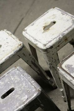 old stools white metal Repinned by www.silver-and-grey.com