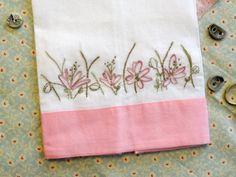 Linen Tea Towel Hand Embroidery Pink Wildflower Daisy Meadow | countrygarden - Needlecraft on ArtFire