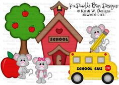 Back To School Mice  Original Artwork by Kristi W. Designs  www.kadoodlebugdesigns.com