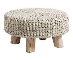 Reposapiés de madera de eucalipto y algodón Story - beige