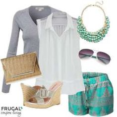Spring Turquoise Outfit for Frugal Fashion Friday. Polyvore Layouts and More Fashion Ideas on Frugal Fashion Friday. Gold Clutch, Grey Cardigan, Turquoise Avaitors, Drawstring Shorts, and Turquoise Bib Necklace