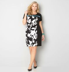 Shop the full collection of plus size dresses like the Colorblock Floral Print Dress available at avenue.com Avenue Store