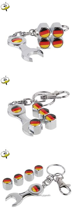 Car Wheel Tire Valve Stems Caps For German Flag Logo With Mini Wrench Keychain For BMW Mercedes Benz VW Volkswagen Audi Ford KIA