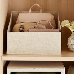 Use matching storage baskets or bins for storing purses & clutches. Try grouping bags using these bins – 1 for clutches, 1 for wallets and one for everyday bags. Get this Beige Linen Purse Storage Bin from The Container Store. Storage Hacks, Diy Storage, Storage Baskets, Storage Ideas, Small Storage, Storage Solutions, Storage Containers, Closet Storage, Bedroom Storage