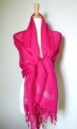 Pink scarf with silver shimmer. This beautiful and light weight pink scarf is perfect for the beach or a fun summer night out. This stylish pink scarf is exactly what you need and can be worn as a shawl for a sophisticated update. $ 22.99 Use code PINIT at checkout for 10% off your entire order.