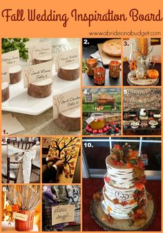 Planning a fall wedding? Be sure to start your planning with this Fall Wedding Inspiration Board from www.abrideonabudget.com.