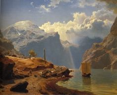From Hardanger by Norwegian Romantic painter Hans Gude. Fantasy Landscape, Landscape Art, Landscape Paintings, Hudson River School, Illustration, Scandinavian Art, Art Graphique, Romanticism, Les Oeuvres