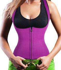 Women's Body Shaper Sport Sweat Thermo Neoprene Enhancing Waist Trainer Tank Top (L, Purple) Made by #Junlan Color #Purple