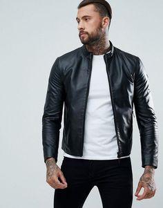 Mens fashion and styles #mensfashion #ad Armani Jeans Fine Textured Leather Biker Jacket