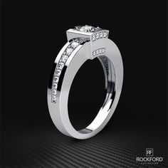 A fusion of Art Deco styles and a center round diamond gives this men's wedding ring design a stunning and distinctive look. This men's wedding ring available in gold and platinum. Unique Wedding Bands, Wedding Ring Designs, Gold Wedding Rings, Gold Plated Rings, Gold Rings, Beautiful Diamond Rings, Jewelry Ideas, Jewelry Box, Jewlery