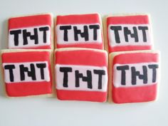 Minecraft Cookies TNT, Birthday Party Favors for Minecraft Theme Party - Made to Order decorated sugar cookies - One Dozen Cookies by CookieCollections on Etsy https://www.etsy.com/listing/219304251/minecraft-cookies-tnt-birthday-party