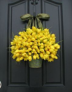 Tulips - Yellow Tulips - Metal Wall Pocket - Shabby Chic Decor - Galvanized Bucket - Country Decor - Rustic Tin Wall Pocket