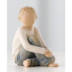 child figurines | willow tree caring child boy willow tree caring child figurine message ...