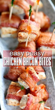 These Easy Peasy Chicken Bacon Bites are the perfect appetizer for any party! Made with just two main ingredients, they're easy and fabulous! Whole30 compliant!