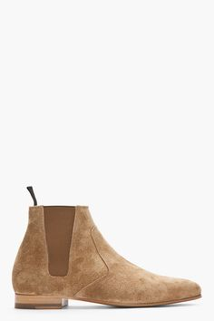 SAINT LAURENT //    Tan Distressed Suede Chelsea Billy Boots