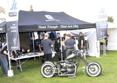 Jack Lilley Triumph Bonneville Bobber on display next to our stand