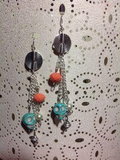 Turquoise skull dangle earrings