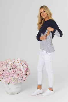 Sweater Crop Navy/Grey - Maternity + Nursing Top - LEGOE.