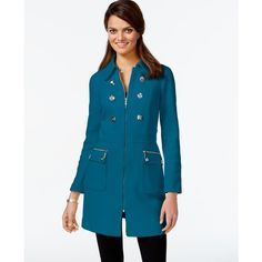 Inc International Concepts Embellished Trench Coat ($140) ❤ liked on Polyvore featuring outerwear, coats, teal glaze, teal coat, inc international concepts, blue coat, embellished coat and trench coat