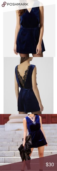 TOPSHOP Velvet Lace Back Playsuit Midnight blue velvet pull on romper. V neck. Back zip. Back black lace insert. EUC Topshop Shorts