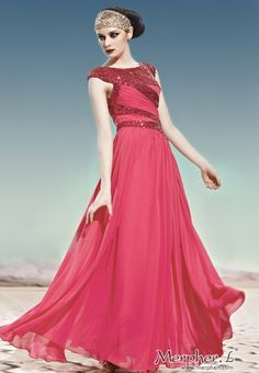 Red Sequin Boat Neck Stamping Process Long Evening Dress Ball Gown - Red - By Color - Merpher.L
