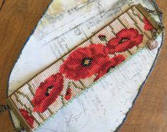Loom beaded poppies bracelet