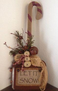 Primitive Christmas Rustic Wood Candy Cane Shovel Honey and Me Snowman Decor 18 #Primitive #Handmade
