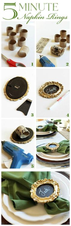 Five-minute Napkin RIngs using Mini Photo Frames from confessionsofaser...