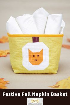 Show off your paper piecing skills with the cat pumpkin block, and choose your favorite fall-colored fabrics. Fill it with party napkins and rolled plasticware when setting the table for the celebration. // Project instructions by Lindsay Conner | Lindsay Sews // Project instructions available through the link