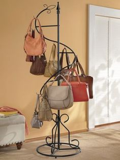 Purse caddy brand new this is perfect to hang all the purses you have every thing on hand nice to display you beautiful purses Iron Furniture, Accent Furniture, Furniture Design, Purse Rack, Handbag Storage, Handbag Display, Clothing Store Interior, Portable Closet, Boutique Decor