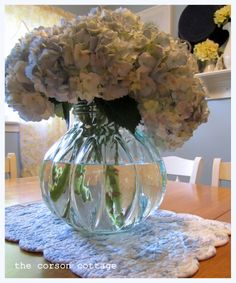 Simple Summer Centerpiece I put together this centerpiece a few weeks ago at my Mom's for a small get together. I think blue Hydran. Blue Hydrangea, Hydrangeas, Summer Centerpieces, Glass Vase, Shabby Chic, Rose, Simple, Flowers, Pink